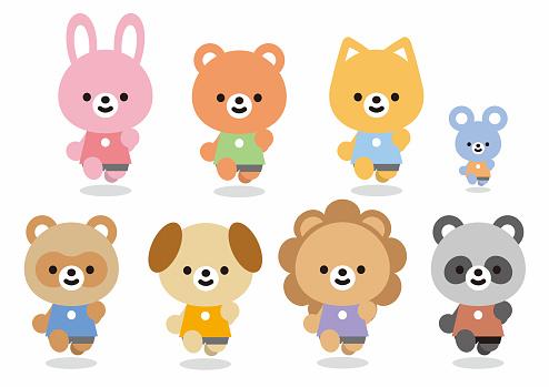 Illustrations of various animals (rabbit, bear, cat, mouse, sea dog, lion, panda)