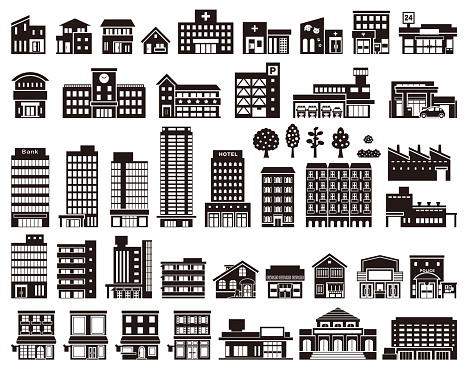 Illustrations of various buildings clipart