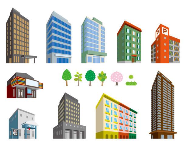 illustrations, cliparts, dessins animés et icônes de illustrations de divers bâtiments - commissariat
