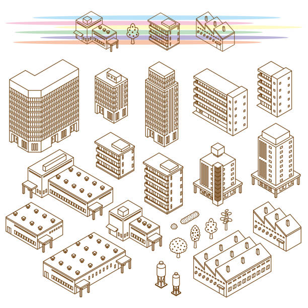 Illustrations of various buildings Vector illustration of the building architecture illustrations stock illustrations