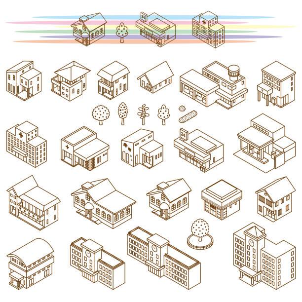 様々な建物のイラスト - アイソメトリック点のイラスト素材/クリップアート素材/マンガ素材/アイコン素材