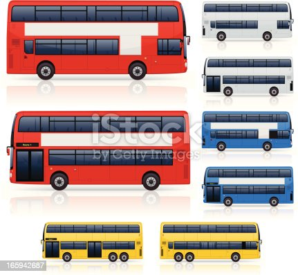 Modern generic double decker bus icons. Layered and grouped for ease of use. Download includes EPS 8 file and hi-res jpeg.