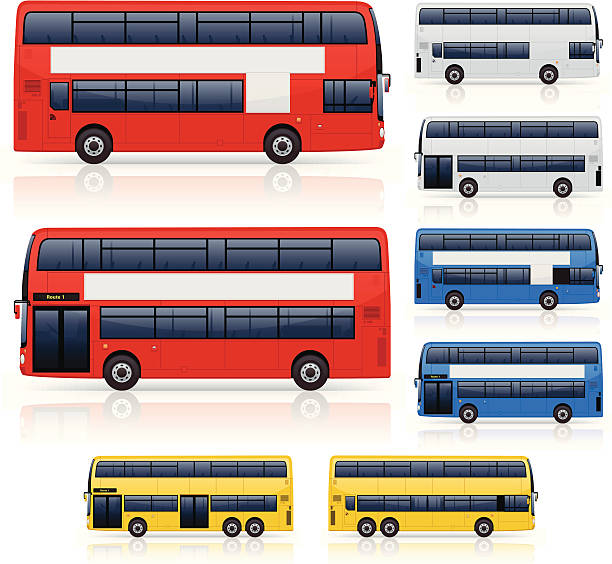 Illustrations of various colors, sizes of double decker bus vector art illustration