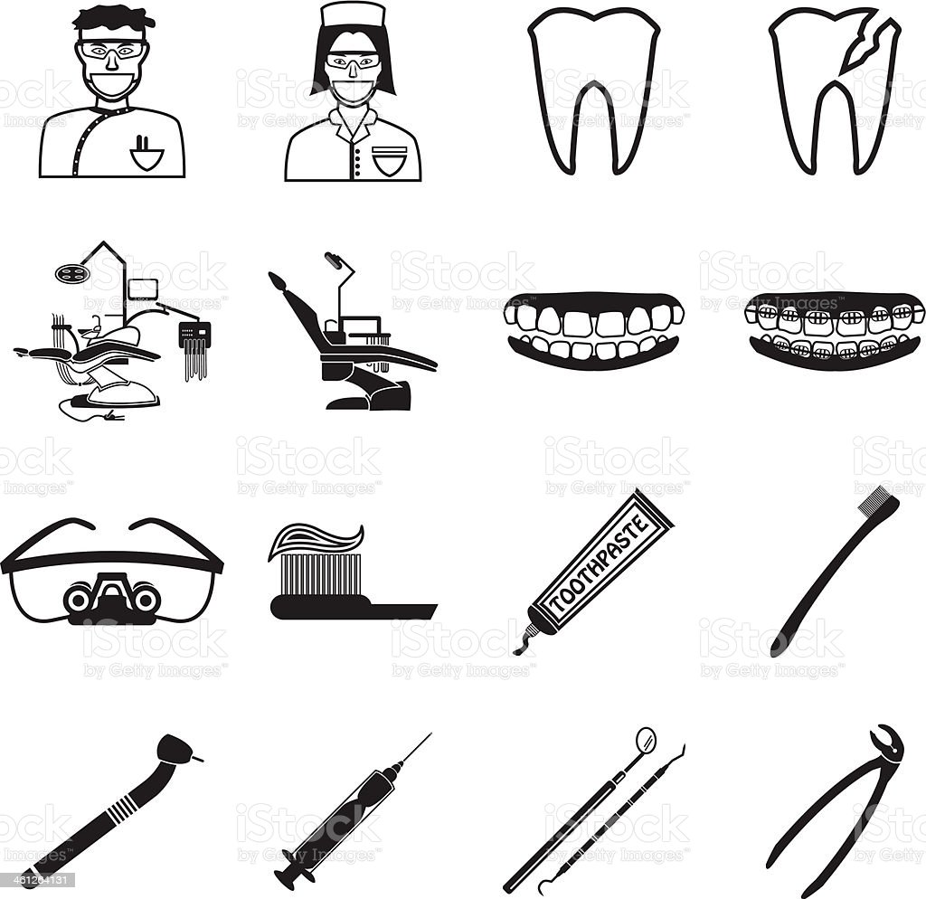 Illustrations of Various dental icons royalty-free stock vector art