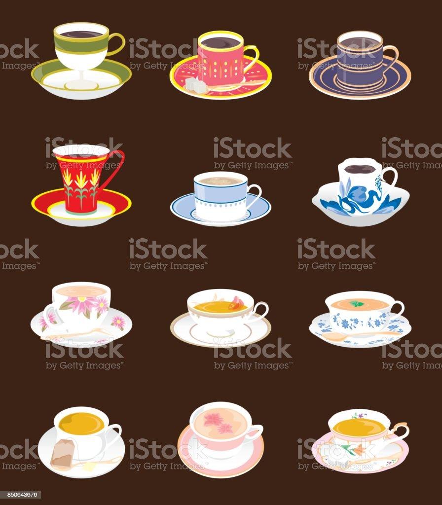 Illustrations of various drinks vector art illustration