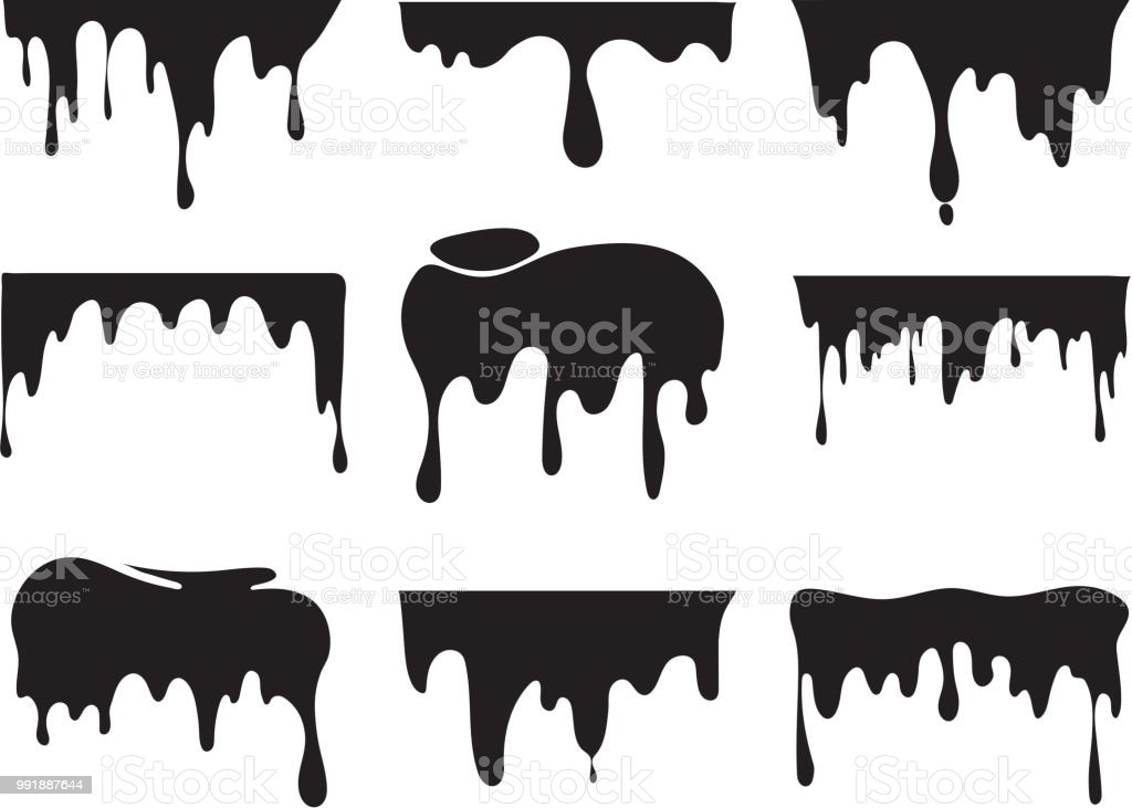 bba70230d6188 Illustrations of various dripping black paint. Vector pictures of splashes  - Illustration .