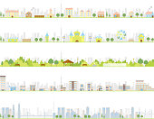 Illustration of residential area, park, city