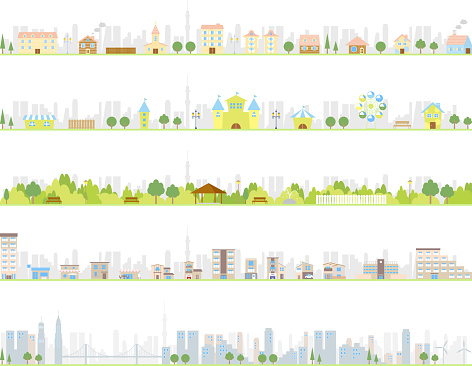 Illustrations of various kinds of cities