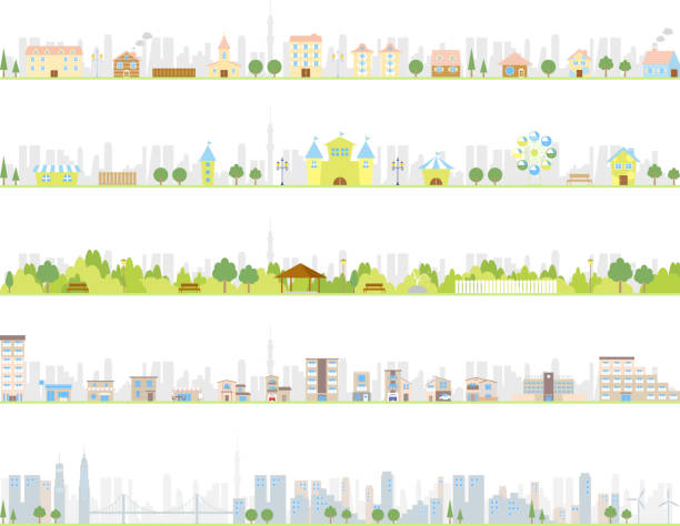 Illustrations of various kinds of cities Illustration of residential area, park, city cityscape stock illustrations