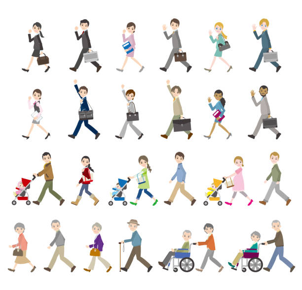 Illustrations of various people / Business and family vector art illustration