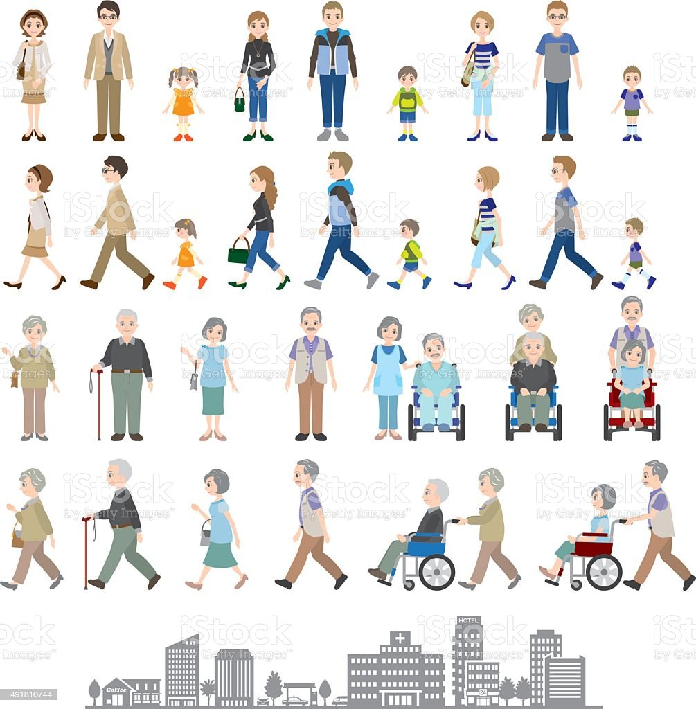 Illustrations of various people / Family vector art illustration