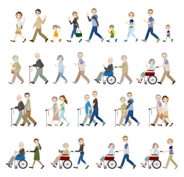 illustrations of various people / family - проживание с уходом stock illustrations