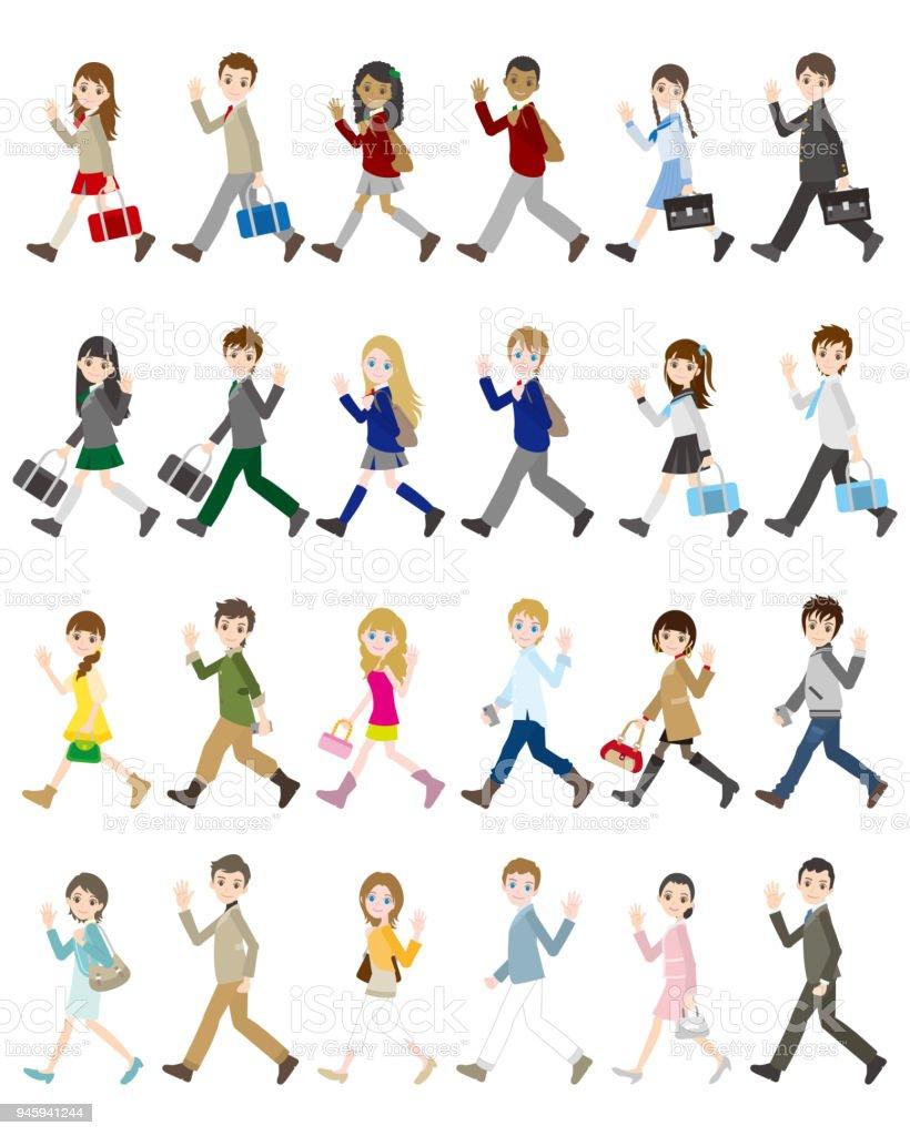 Illustrations of various people / Student vector art illustration