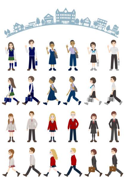 stockillustraties, clipart, cartoons en iconen met illustraties van verschillende mensen / student - schooluniform