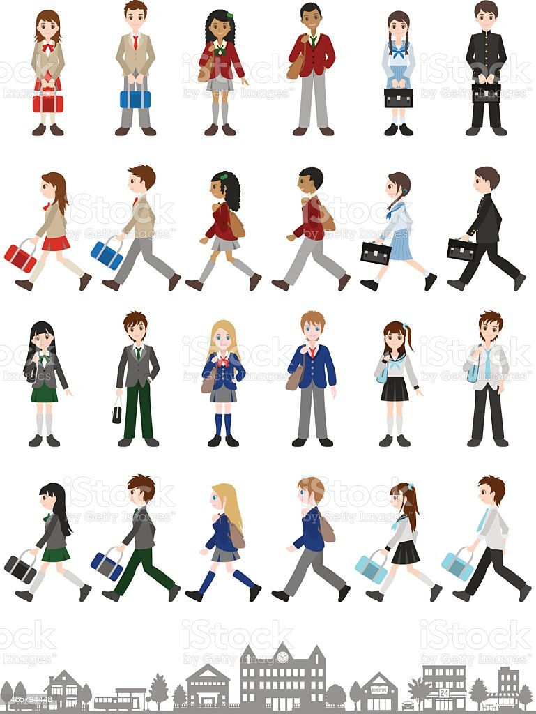 Illustrations of various people / Students vector art illustration