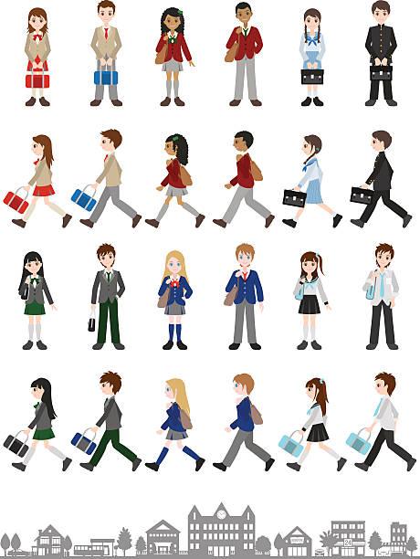 stockillustraties, clipart, cartoons en iconen met illustrations of various people / students - schooluniform