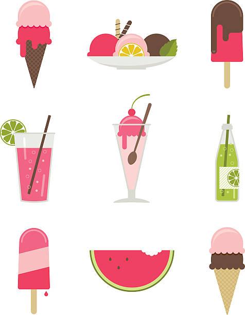 Illustrations of various summertime desserts Icon set of refreshing summertime desserts. ice cream sundae stock illustrations