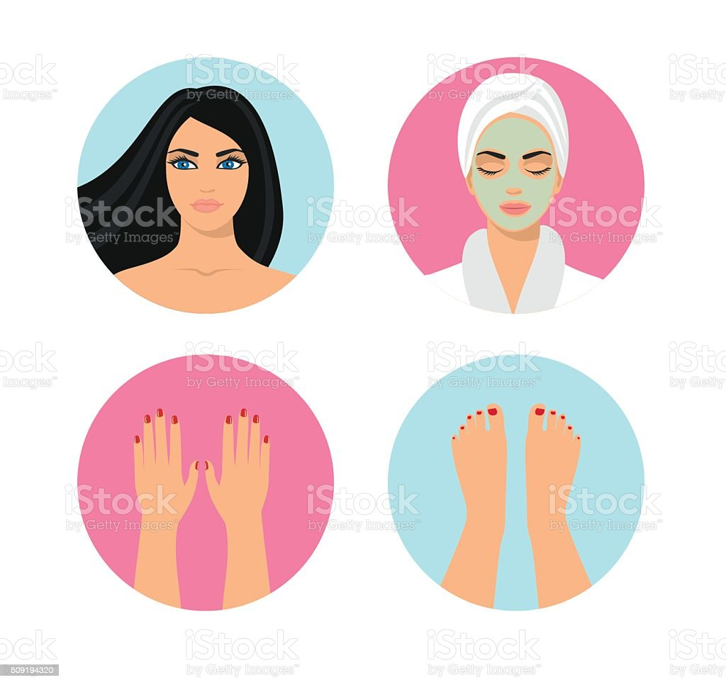 illustrations of young beautiful woman vector art illustration