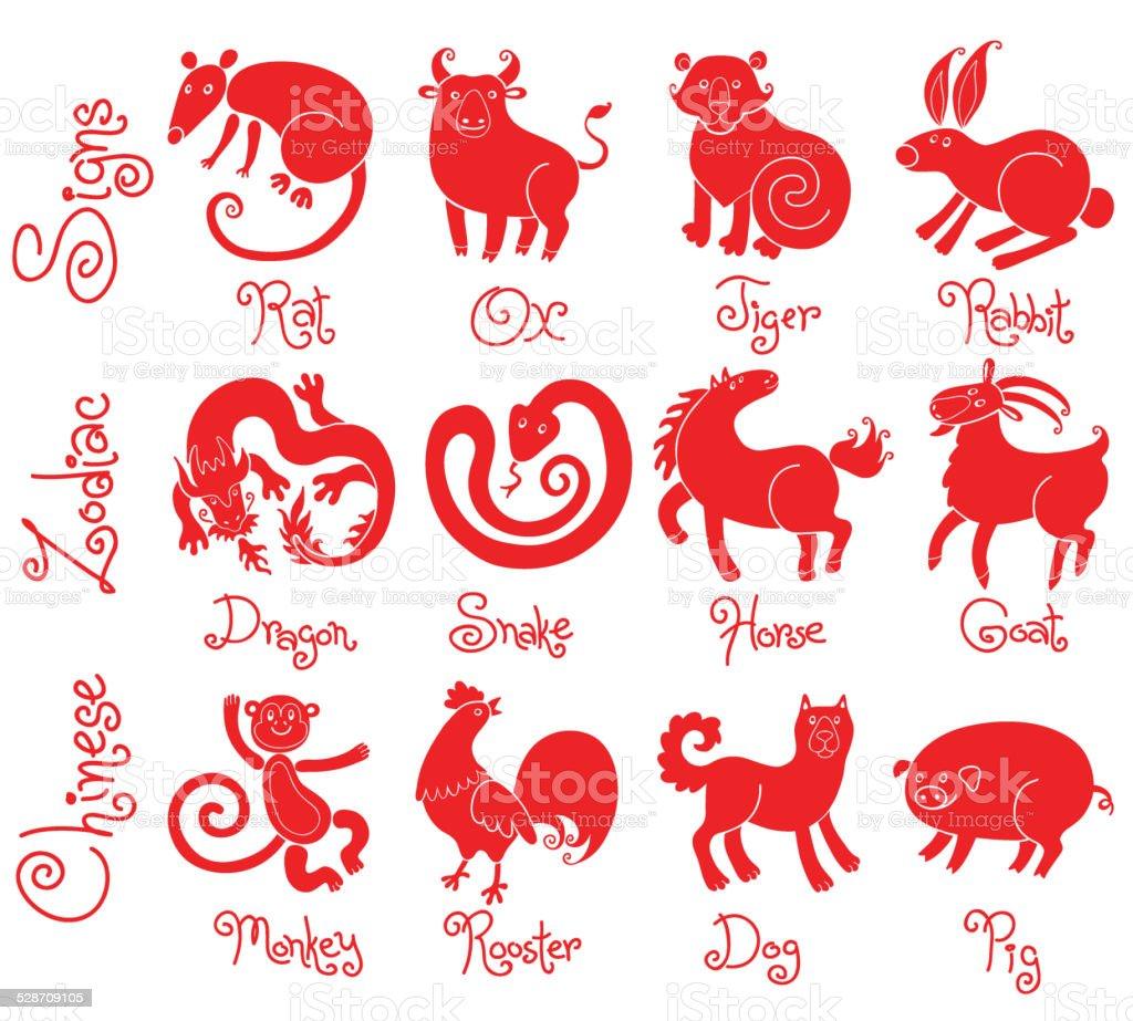 Illustrationen oder Symbole aller zwölf chinesischen zodiac Tiere. – Vektorgrafik