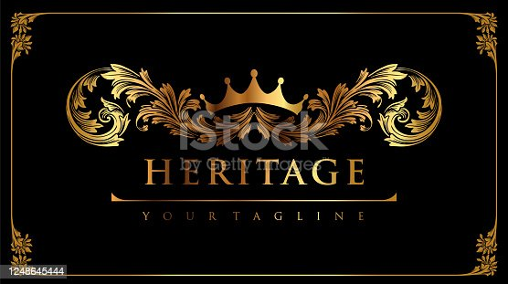 istock Illustrations Ornament Golden with Crown for your logo identity business 1248645444