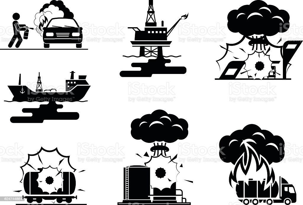 Illustrations presenting accidents in oil industry vector art illustration