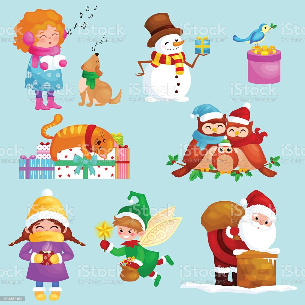 illustrations set merry christmas happy new year girl sing holiday royalty free illustrations set