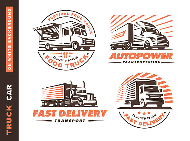 illustrations set with truck and trailer vector art illustration