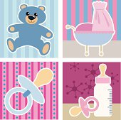 Four vector illustrations of baby related objects.