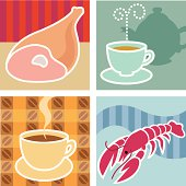Four vector illustrations of food and hot drinks.