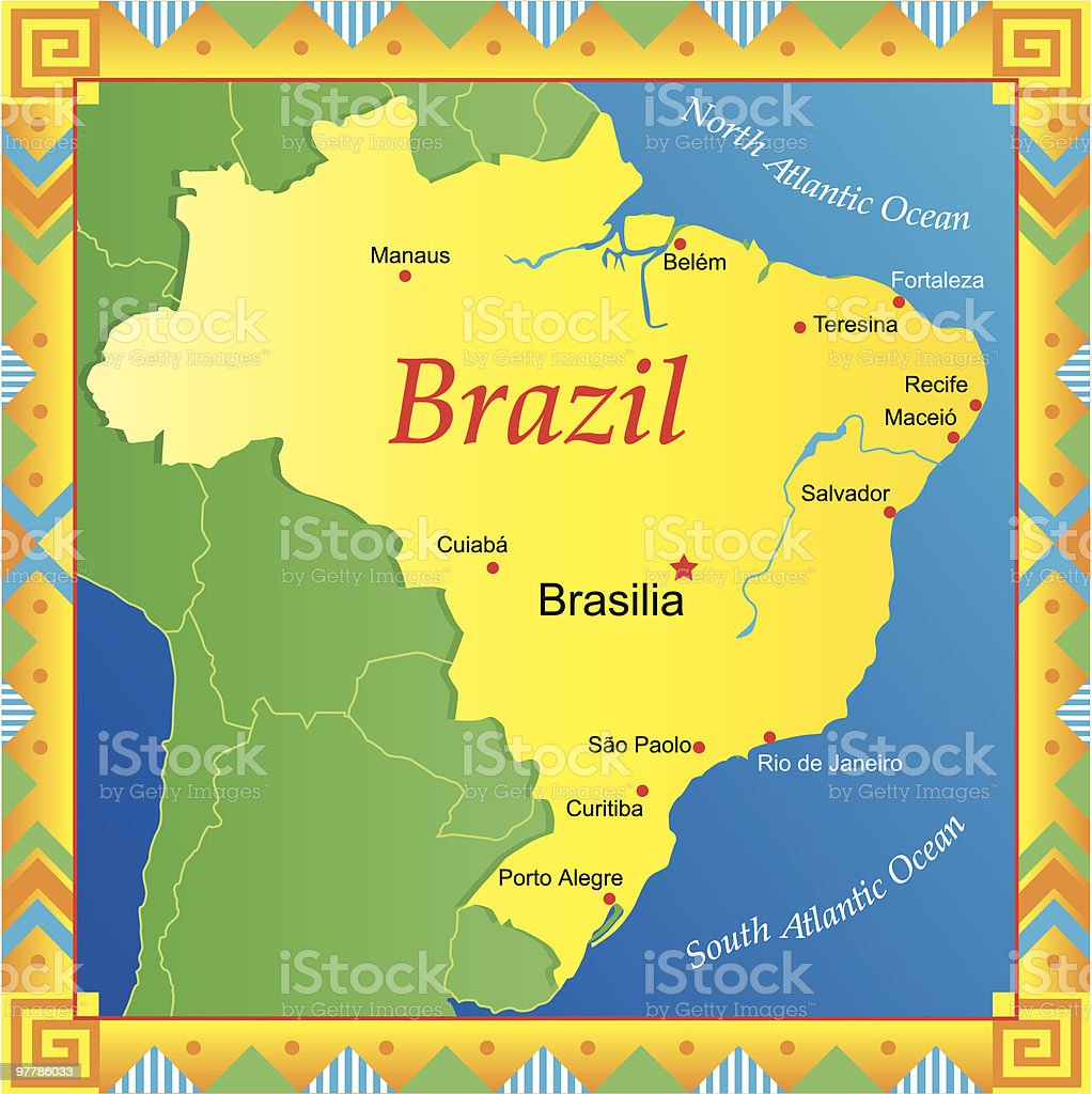 Illustrative map of brazil with border art stock vector art more illustrative map of brazil with border art royalty free illustrative map of brazil with border gumiabroncs Gallery