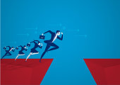 illustrator Businessman jumping over chasm. Business success concept ,risk vector.