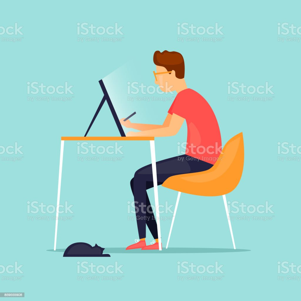 Illustrateur dessine sur une tablette. Illustration vectorielle de conception plate. - Illustration vectorielle
