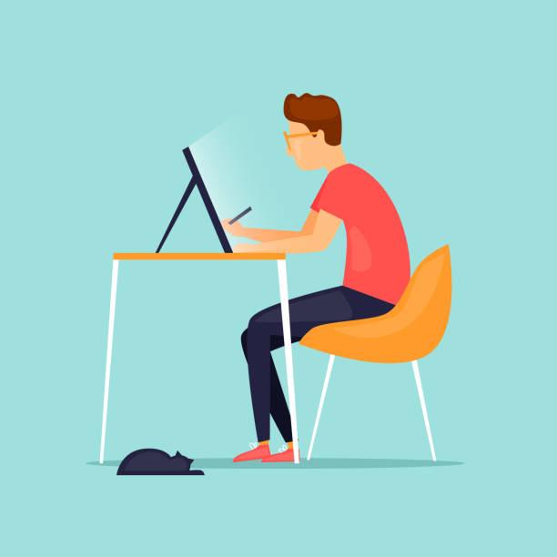 ilustraciones, imágenes clip art, dibujos animados e iconos de stock de illustrator dibuja en un tablet. ilustración de vector de diseño plano. - trabajo freelance