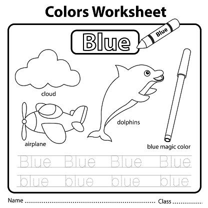 illustrator of color worksheet blue stock illustration. Black Bedroom Furniture Sets. Home Design Ideas