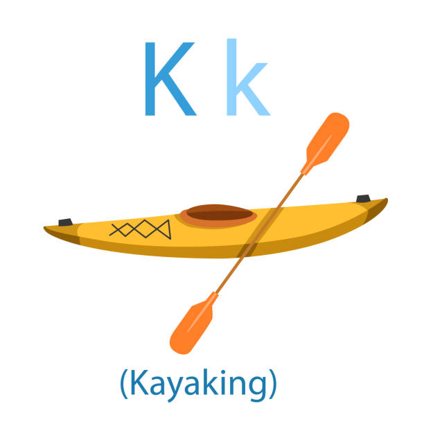 illustrator of k for kayaking - kayaking stock illustrations, clip art, cartoons, & icons