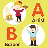 Illustrator of professional character Artist and Barber