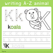Illustrator of writing a-z animal k