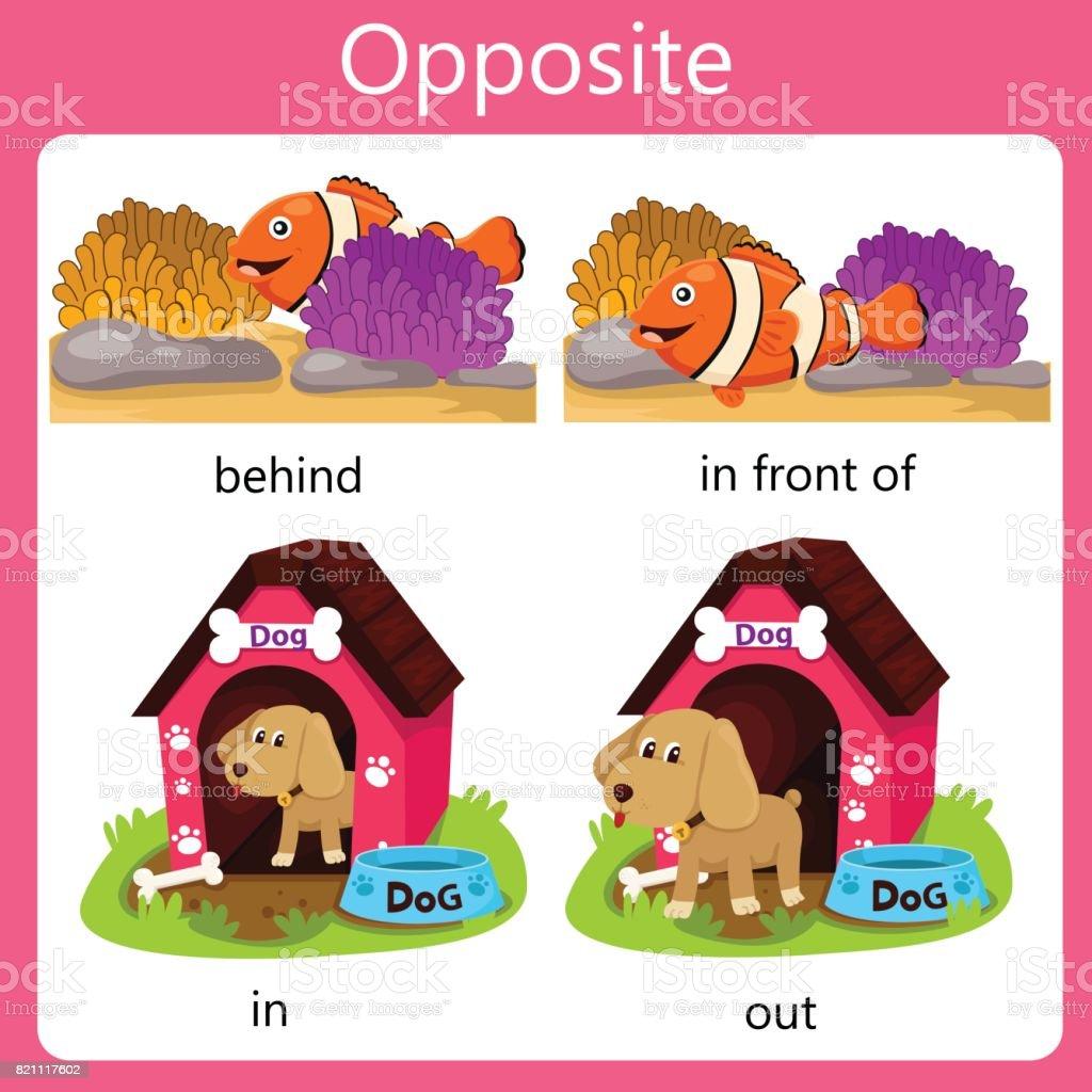 Illustrator Opposite set four vector art illustration