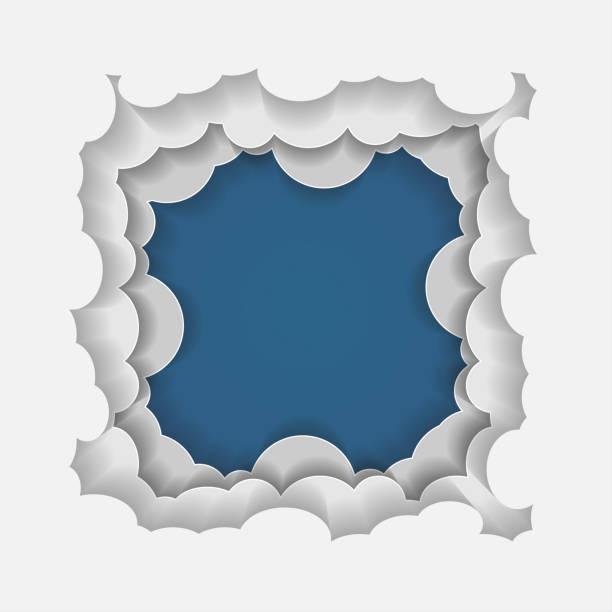 Illustrator Papier Kunst Wolken Himmel und Kopie Raum für text – Vektorgrafik