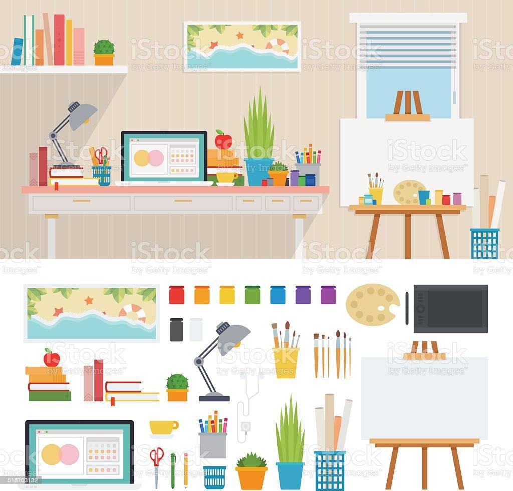 Grafiker Arbeitsplatz Mit Künstlerischen Werkzeuge Stock Vektor Art ...