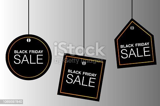 istock Illustrazione testo BLACK FRIDAY, vettoriale evento 1069597840
