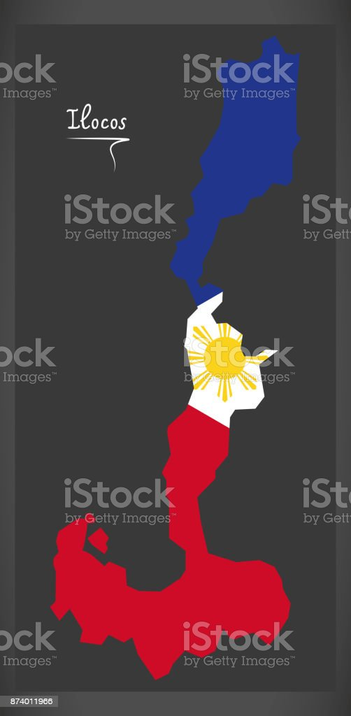Ilocos map of the Philippines with Philippine national flag illustration vector art illustration