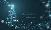 Iluminated Christmas tree with glitter, stars, snowflakes and transparent circles on a blue winter glowing vector background. Merry Christmas and Happy New Year wishes.