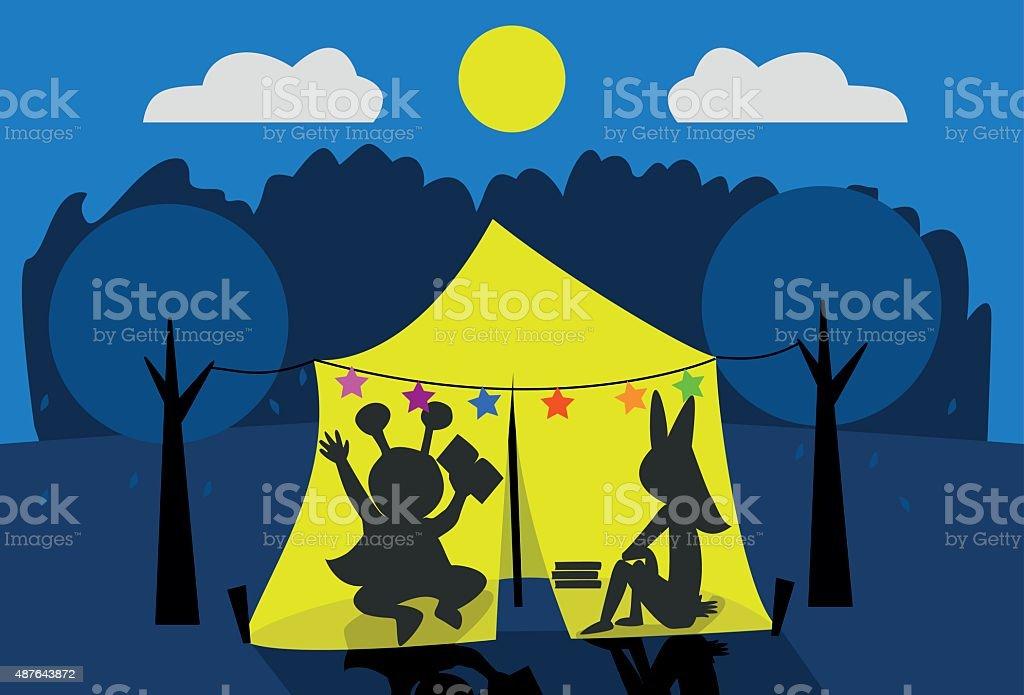 Ilustración de niños acampando en jardín vector art illustration