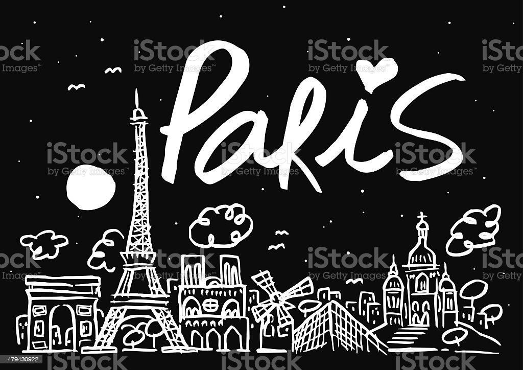 Ilustración de las Naciones Unidas de los edificios de la ciudad de París de noche - ilustración de arte vectorial