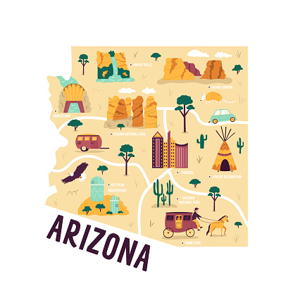 Illustrated map of Arizona state, USA, with famous landmarks, cities. Vector hand drawn illustration, poster, decoration