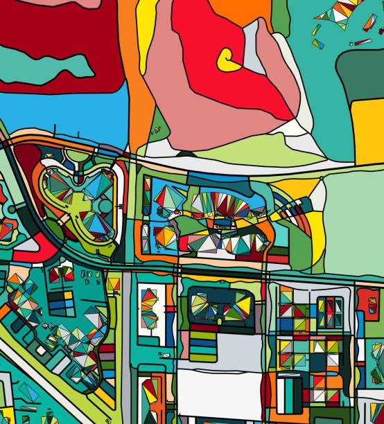 halat mountain view şehir sanat haritası - google stock illustrations
