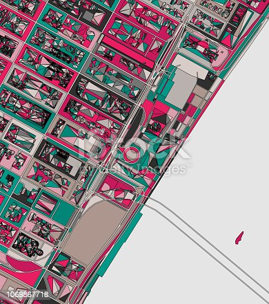 ilustration of New York city structure art map.near United nation headquarters.Map data from© OpenStreetMap contributors.