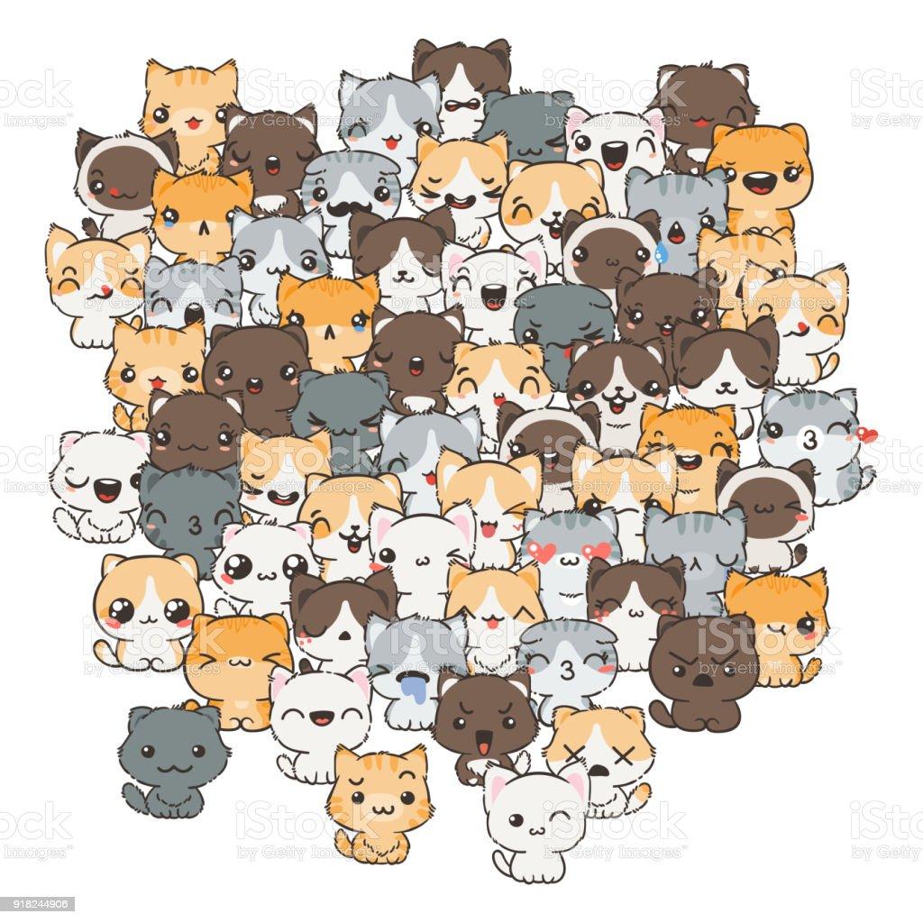 Ilustración Con Gatos Y Perros Para El Diseño De Carteles ...
