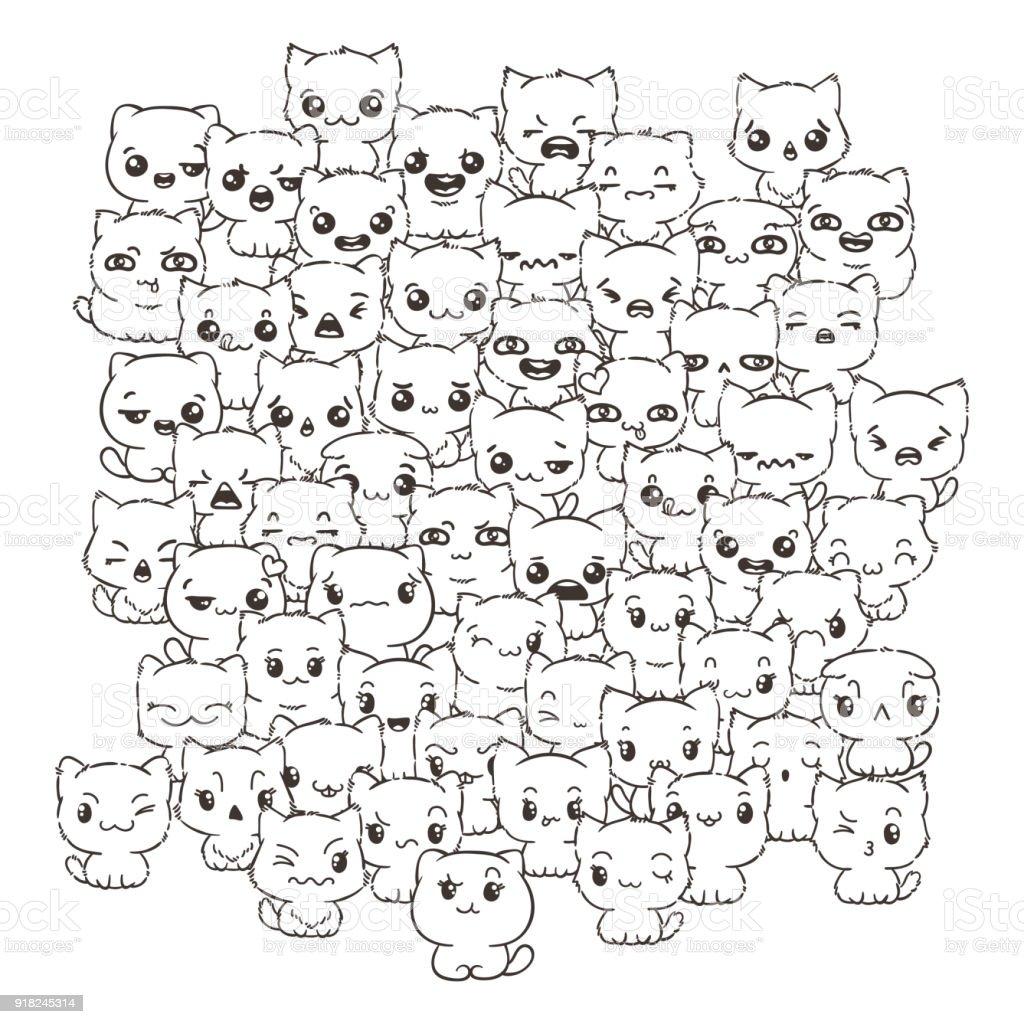 Ilustración de Ilustración Con Gatos Y Perros Para El Diseño De ...